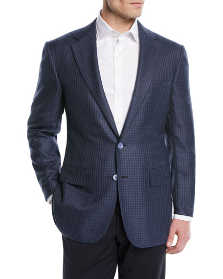 Men's Wool/Silk Check Two-Button Sport Coat