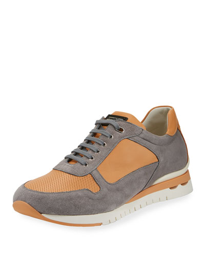 Perforated Suede & Leather Trainer Sneaker, Orange