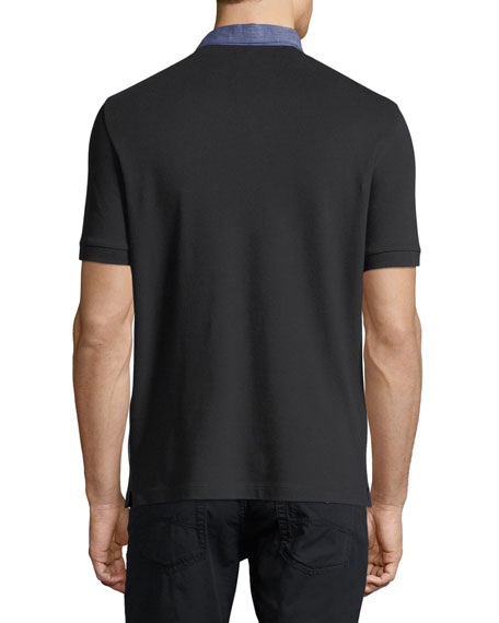 Pique Polo Shirt w/ Contrast Collar