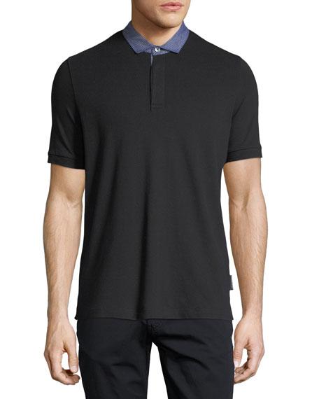 Emporio Armani Pique Polo Shirt w/ Contrast Collar