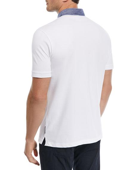 Contrast-Collar Piqué Polo Shirt