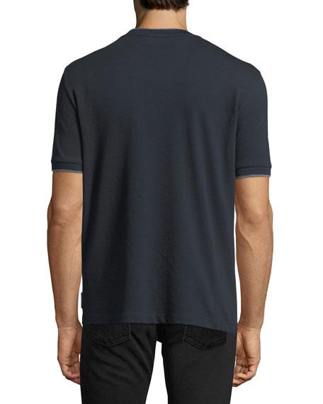 Pique V-Neck T-shirt w/ Contrast Trim