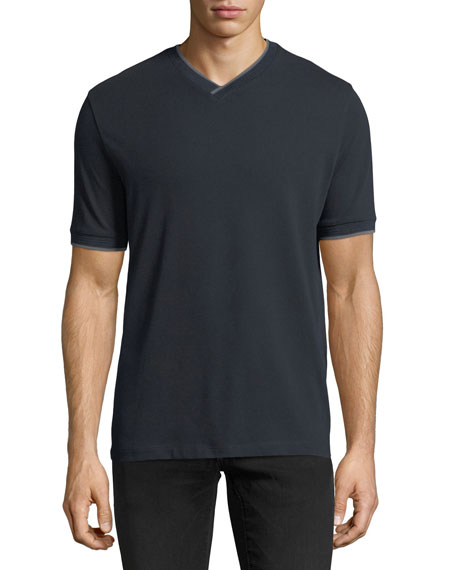 Pique V-Neck T-shirt w/ Contrast Trim
