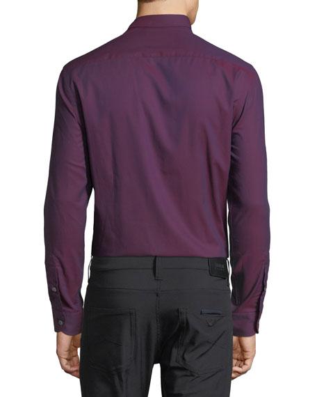 Neat Pindot Sport Shirt, Red-Tone