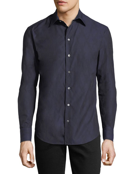 Tonal-Print Slim-Fit Sport Shirt