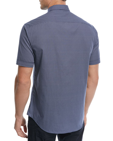 Micro-Pattern Short-Sleeve Sport Shirt