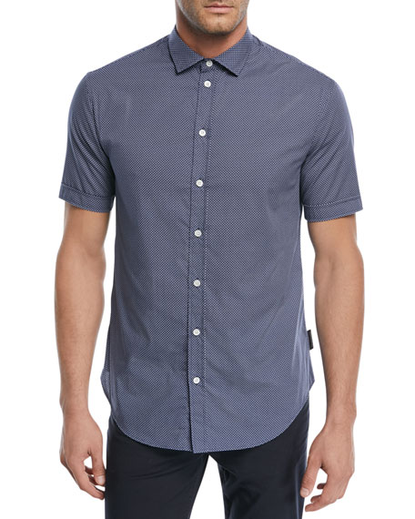 Emporio Armani Micro-Pattern Short-Sleeve Sport Shirt and