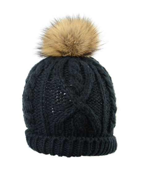 Crown Cap Hand-Knit Toque Hat w/ Fur Pompom