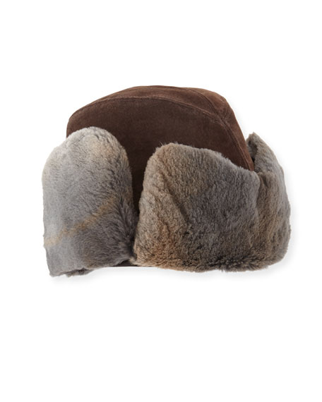 Crown Cap Suede Shearling-Lined Aviator Hat