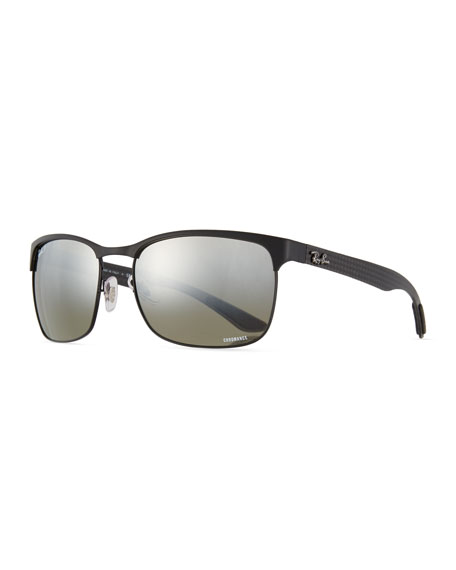 Ray-Ban Half-Rim Polarized Sunglasses, Black