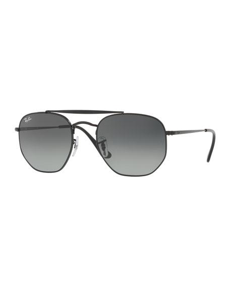 Men's Square Double-Bridge Sunglasses, Black