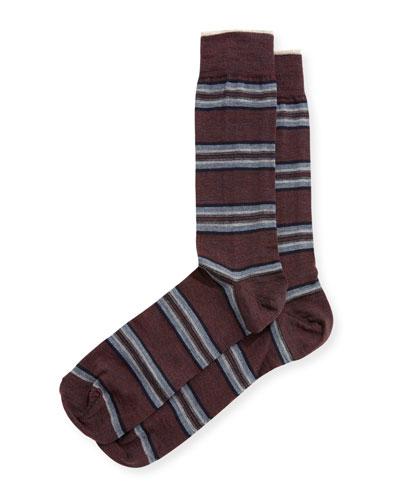Mirror-Striped Wool Socks