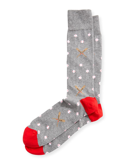 Neiman Marcus Baseball-Print Cotton Socks, Gray