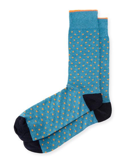 Neiman Marcus Contrast Dots Cotton Socks
