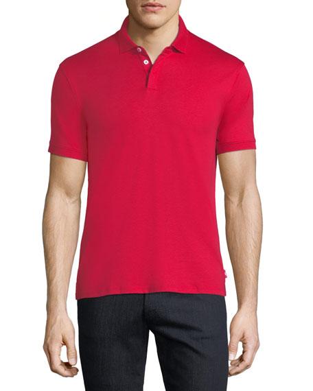 Emporio Armani Basic Textured Polo Shirt, Red