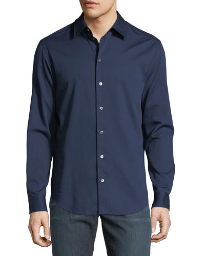 Basic Woven Cotton Sport Shirt
