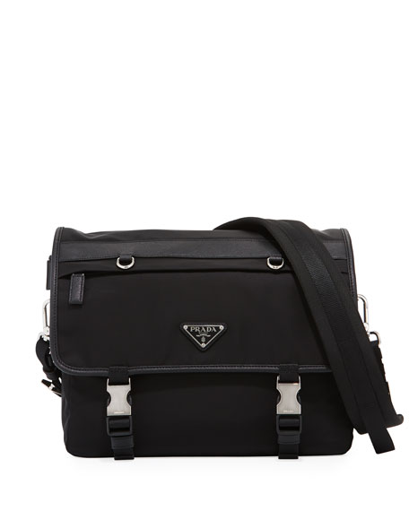 Prada Tessuto Montagno Leather-Trim Messenger Bag
