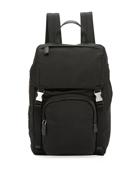 Image 1 of 3: Tessuto Character Logo-Patch Flap-Top Backpack