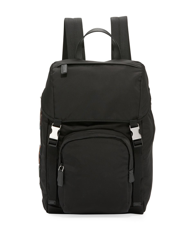 3d8d48316e09 Prada Tessuto Character Logo-Patch Flap-Top Backpack | Neiman Marcus