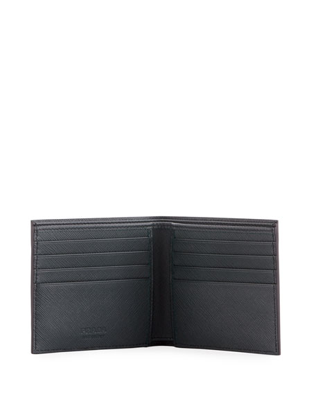 Saffiano Striped Corner Logo Wallet