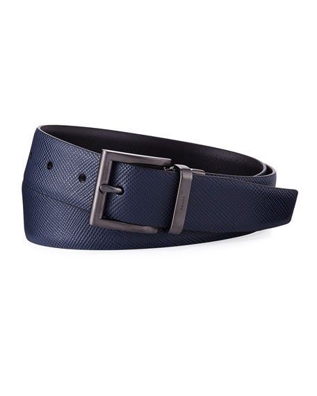 Prada Saffiano Leather Belt, Blue/Black