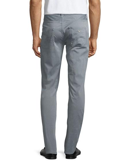 Basic 5-Pocket Slim-Straight Sateen Pants