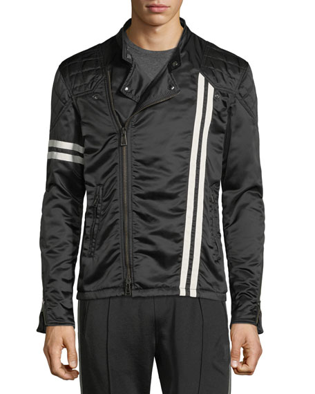 Striped Satin Racer Jacket