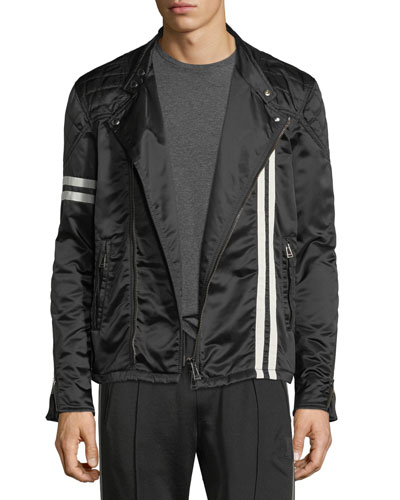 Striped Satin Racer Jacket