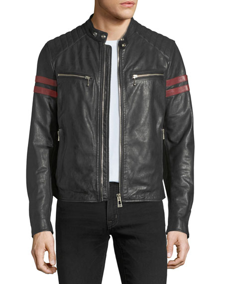 Tiger-Graphic Leather Bomber Jacket