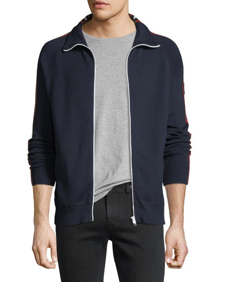 Belstaff Stripe-Trim Zip-Front Sweater