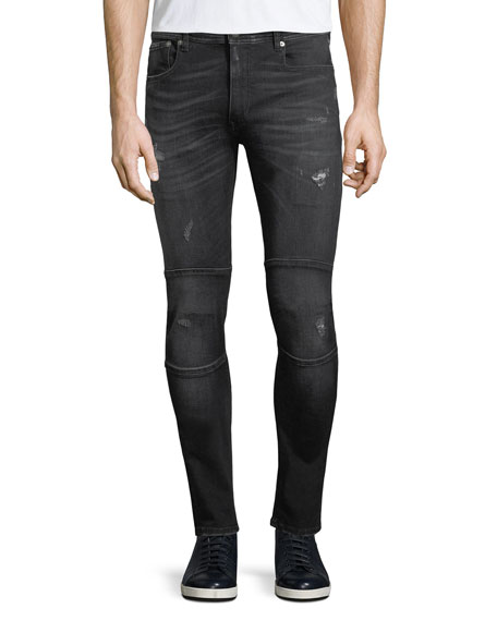 Distressed Skinny Moto-Style Jeans