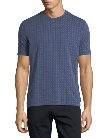 Emporio Armani Short-Sleeve Squared Pattern Crewneck T-Shirt