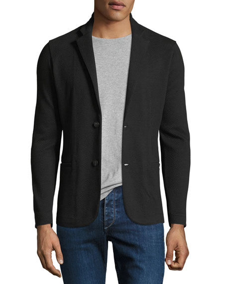 Textured Jersey Two-Button Jacket