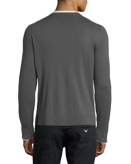 Long-Sleeve Wool Sweater w/ Contrast Trim