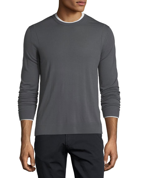 Emporio Armani Long-Sleeve Wool Sweater w/ Contrast Trim