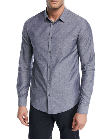 Dot-Print Chambray Sport Shirt