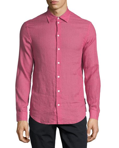 Chevron-Print Linen Sport Shirt