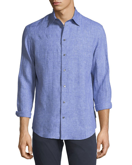 Emporio Armani Fancy Check Linen Sport Shirt