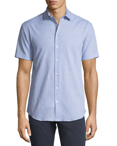 Seersucker Short-Sleeve Sport Shirt, Light Blue
