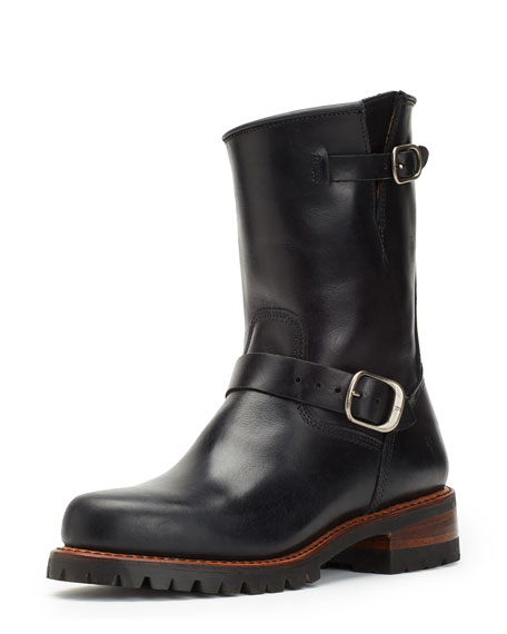 Frye Addison Water-Resistant Lugged Engineer Boot, Black