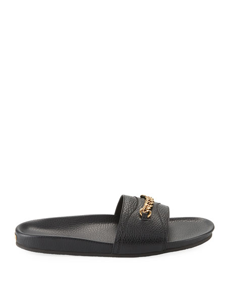 Leather Slide Sandal with Curb-Link Chain