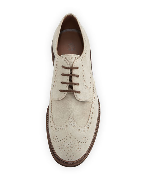 Suede Brogue Wing-Tip Shoe