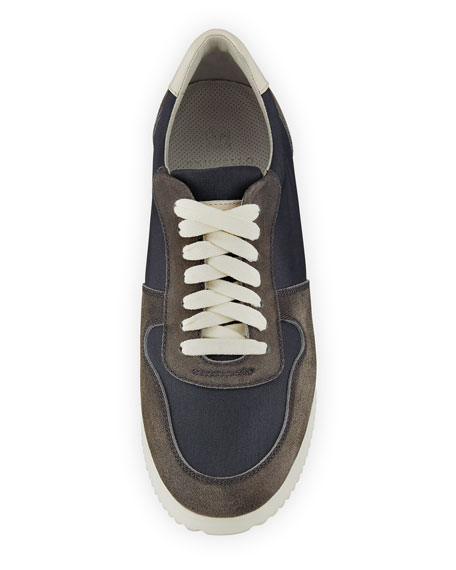 Suede-Trim Trainer Sneaker, Navy