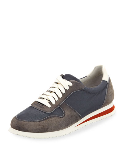 Men's Suede-Trim Trainer Sneakers, Navy