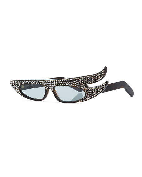 Gucci Runway Flash Asymmetrical Sunglasses with Sparkling