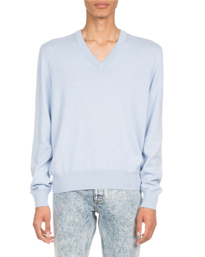 Elbow-Patch V-Neck Sweater