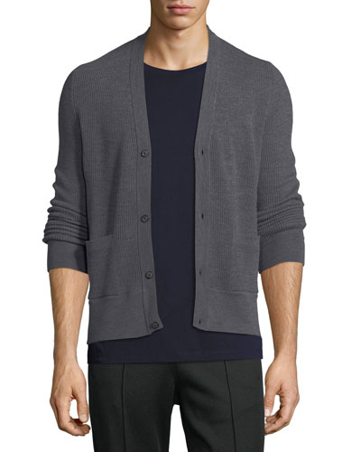 Wool Ribbed V-Neck Cardigan