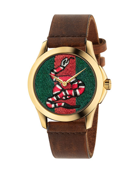 Gucci 38mm King Snake Watch w/ Leather Strap