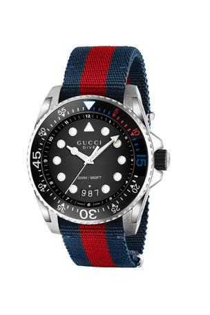 Gucci 45mm Gucci Dive Watch w/ Nylon Web Strap