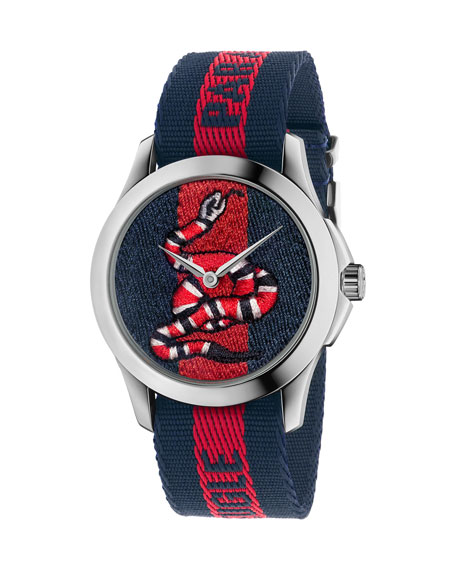 Gucci 38mm King Snake Watch w/ Nylon Web